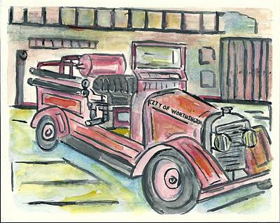 Painting - Worthington Fire Engine by Matt Gaudian