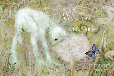 Dandelion Digital Art - Worthy Is The Lamb - Quote by Anita Faye