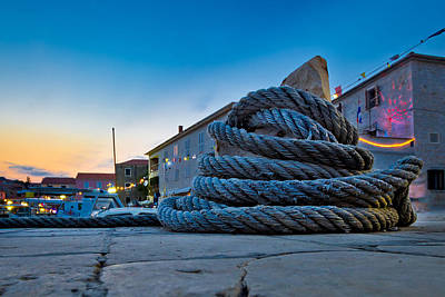 Photograph - Wound Boat Rope On Mooring Bollard by Brch Photography