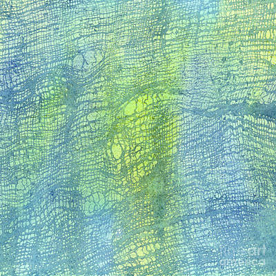 Weaving Painting - Woven Watercolor Texture Design Blue Gold Square 2 by Sharon Freeman