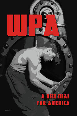 Digital Art - Wpa A New Deal For America by Chuck Mountain