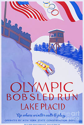Bobsled Painting - Wpa Poster by MotionAge Designs