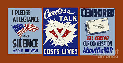 Wpa Posters 034  Careless Talk Costs Lives Art Print by WPA Works Progress Administration