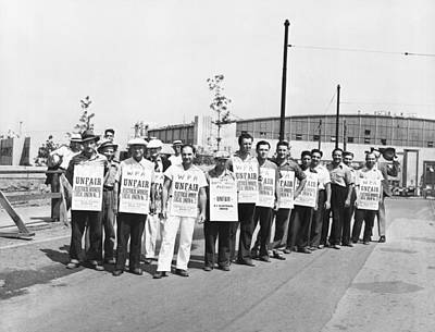 Works Progress Administration Photograph - Wpa Strikers by Underwood Archives