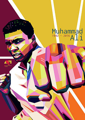 Boxing Legends Digital Art - Wpap Of Muhammad Ali by Andiko Arya Nugraha