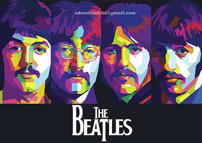 Paulmccartney Digital Art - Wpap The Beatles by Adam Khabibi