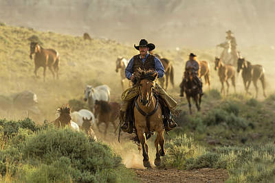 Photograph - Wrangling The Horses At Sunrise At Absaroka Ranch, Wyoming by Kay Brewer