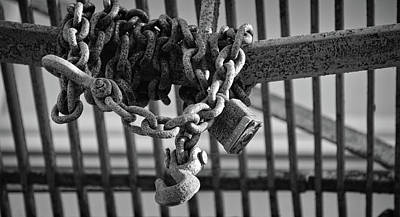 Photograph - Wrapped And Rusted - Fire Escape Chain - Bw by Greg Jackson