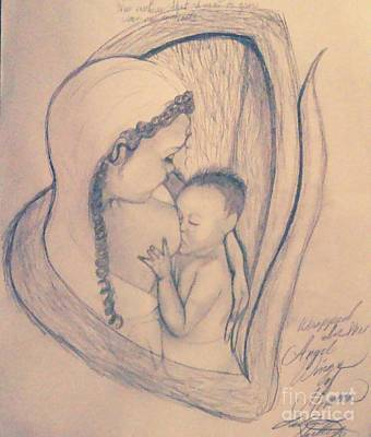 Wrapped Within The Angel Wings Of Momma Art Print
