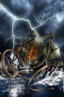 Wrath Of Kraken Art Print by Emma Alvarez