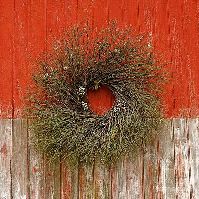 Art Print featuring the photograph Wreath On The Barn by Nicola Fiscarelli