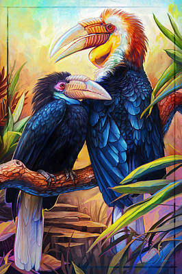 Hornbill Digital Art - Wreathed Hornbills by Cass Womack