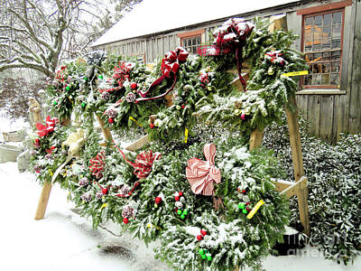 Photograph - Wreaths For Sale  by Janice Drew