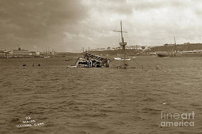 Photograph - Wreckage Of The Uss Maine In Havana Harbor, Cuba, Which Was Sunk In 1898 by California Views Mr Pat Hathaway Archives