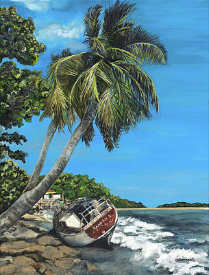Puerto Rico Painting - Wrecked In Paradise by Colleen Banfe