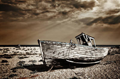 Fishing Boat Photograph - Wrecked by Meirion Matthias