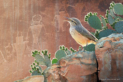 Wren At Capitol Reef Petroglyphs Art Print by R christopher Vest