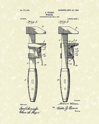 Plumber Drawing - Wrench Wilson 1904 Patent Art by Prior Art Design