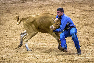 Photograph - Wrestle That Steer Cowboy by Rene Triay Photography