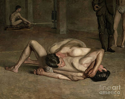 Physique Painting - Wrestlers, 1899  by Thomas Cowperthwait Eakins