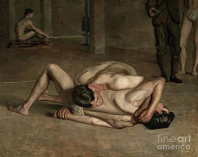 Erotica Painting - Wrestlers, 1899  by Thomas Cowperthwait Eakins