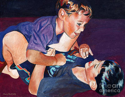 Bonding Mixed Media - Wrestling Brothers by Deanna Yildiz