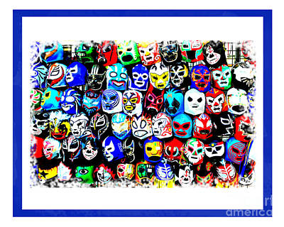 Digital Art - Wrestling Masks Of Lucha Libre Altered Iv by Jim Fitzpatrick