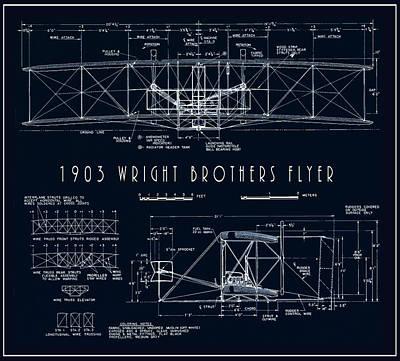 Wright Bros Flyer Aeroplane Blueprint  1903 Art Print by Daniel Hagerman