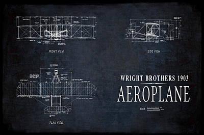 Flyers Digital Art - Wright Brothers 1903 Aeroplane Blueprint by Daniel Hagerman