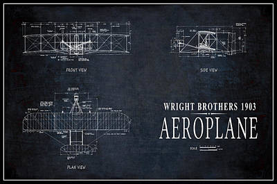 Airlines Mixed Media - Wright Brothers 1903 Aeroplane Pinline Border by Daniel Hagerman