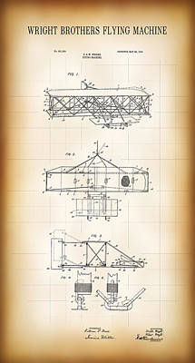 Flyers Digital Art - Wright Brothers Flying Machine Patent  1906 by Daniel Hagerman
