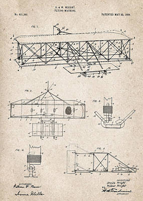 Airplane Photograph - Wright Brothers Flying Machine - Patent Drawing For The 1906 Orville And Wilbur Wright Flying Machin by Jose Elias - Sofia Pereira