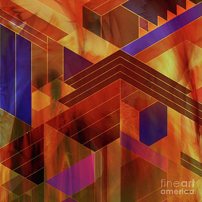 Digital Art - Wrightian Reflections - Square Version by John Beck
