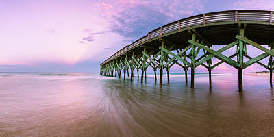 Photograph - Wrightsville Beach Pier In North Carolina At Sunset Panorama by Ranjay Mitra