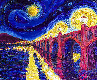 Wrightsville Bridge At Night Print by Paris Wyatt Llanso