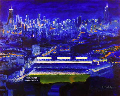 Chicago Cubs Stadium Painting - Wrigley Field At Night - Home Of The Chicago Cubs by Joseph Catanzaro