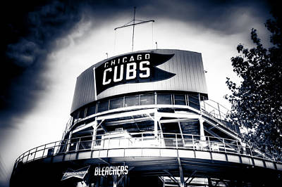 Friendly Confines Photograph - Wrigley Field Bleachers In Black And White by Anthony Doudt