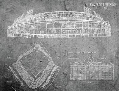 Chicago Mixed Media - Wrigley Field Chicago Illinois Baseball Stadium Blueprints Gray by Design Turnpike