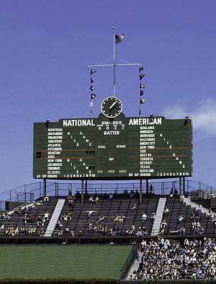 Photograph - Wrigley Field Classic Scoreboard 1977 by Paul Plaine