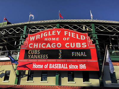 Photograph - Wrigley Field Cubs Red Sign by Daniel Hagerman