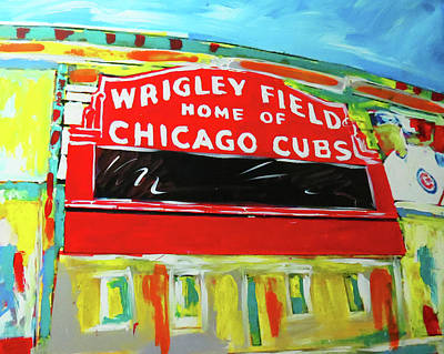 Baseball Painting - Wrigley Field by Elliott From