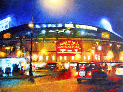 Wrigley Field Painting - Wrigley Field Home Of Chicago Cubs by Michael Durst