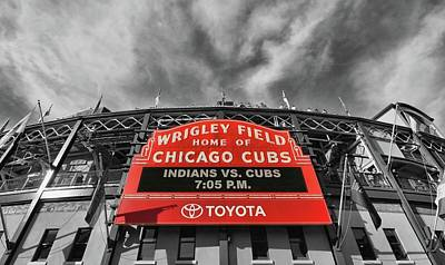 Photograph - Wrigley Field - Home Of The Chicago Cubs # 3 - Selective Color by Allen Beatty