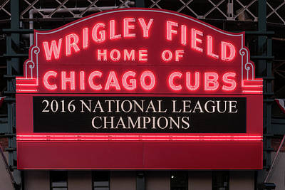 Baseball Royalty-Free and Rights-Managed Images - Wrigley Field Marquee Cubs Champs 2016 Front by Steve Gadomski
