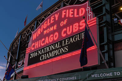 Mlb Photograph - Wrigley Field Marquee Cubs National League Champs 2016 by Steve Gadomski