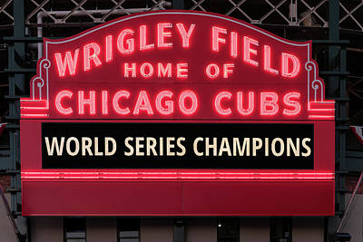 Baseball Royalty-Free and Rights-Managed Images - Wrigley Field Marquee Cubs World Series Champs 2016 Front by Steve Gadomski