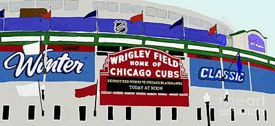 Wrigley Field Drawing - Wrigley Field by Priscilla Wolfe