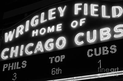 Chicago Photograph - Wrigley Field Sign Black And White Picture by Paul Velgos