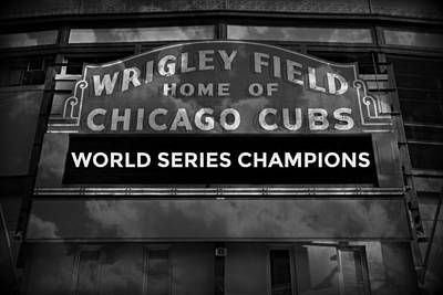 Friendly Confines Photograph - Wrigley Field Sign -- Bw by Stephen Stookey