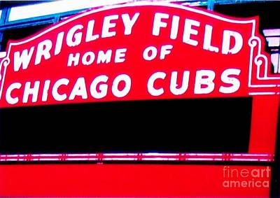 Wrigley Field Digital Art - Wrigley Field Sign by Marsha Heiken